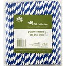 Paper Straws Blue Stripe 205mm