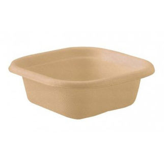 Picture of Biocane Takeaway Container Branded Natural Base - 130 x 130 x 50mm