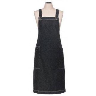 Picture of Black Denim Apron Split Pocket