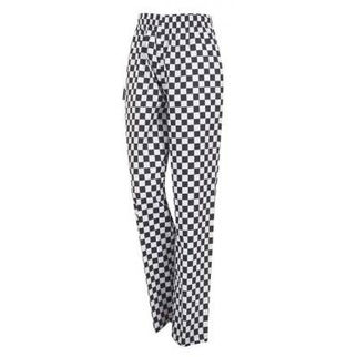 Picture of Chefs Drawstring Pants Black And White Check Printed Cotton Large