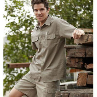 Picture of Cotton Drill Work Shirt Short Sleeve Sandstone Large