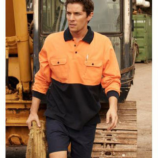 Picture of Hi Vis Cotton Jersey Polo Long Sleeve Yellow/Navy