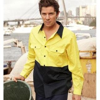 Picture of Hi Vis Cotton Twill Shirt Long Sleeve Orange/Navy XLarge