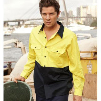 Picture of Hi Vis Cotton Twill Shirt Long Sleeve Yellow/Navy Large