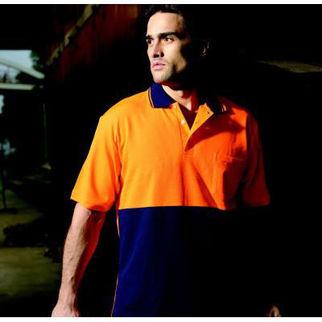 Picture of Hi Vis Poly Cotton Back Polo Short Sleeve Orange/Navy XLarge