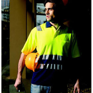 Picture of Hi Vis Poly Cotton Back Polo With Tape Short Sleeve Orange/Navy XXLarge