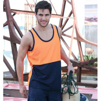 Picture of Hi Vis Poly Cotton Back Singlet Yellow/Navy XLarge