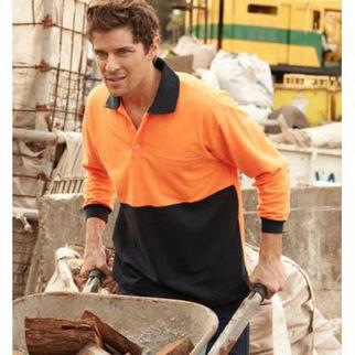 Picture of Hi Vis Poly Cotton Polo Long Sleeve Orange/Navy XXXLarge