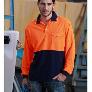 Picture of Hi Vis Safety Polo Long Sleeve Orange/Black Medium
