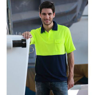 Picture of Hi Vis Safety Polo Shirt Sleeve Medium Fluro Orange/Navy