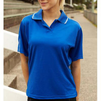 Picture of Ladies Breezeway Striped Polo Size 14 Navy/White