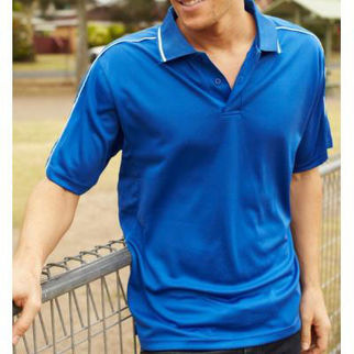 Picture of Mens Breezeway Striped Polo Medium Navy/White