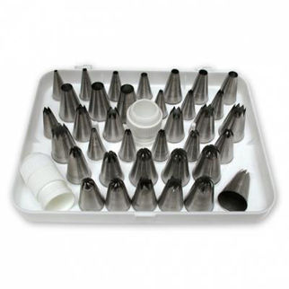 Picture of Pastry Tube Assorted Stainless Steel Set Of 36 In White Box