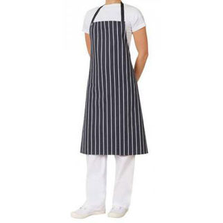 Picture of Pin Stripe Apron Bib With Pocket  Navy and White