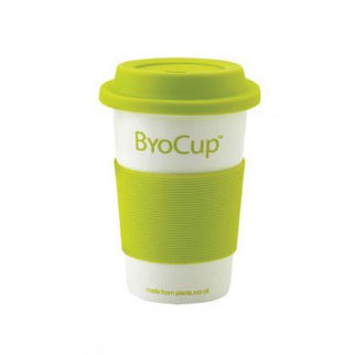 Picture of Reusable Byo Cup 16oz Branded White with Green Band and Lid
