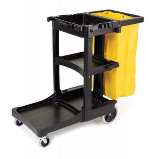 Picture of Rubbermaid Janitor Cart With Zippered Yellow Vinyl Bag 975mm