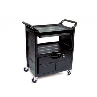 Picture of Rubbermaid Utility Cartwith Lockable Doors Black
