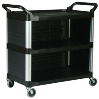 Picture of Rubbermaid 4093 Xtra Utility Cart With 3 Enclosed Sides Black