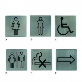 Picture of Wall Sign 18 10 130x130mm Toilet Signs arrow